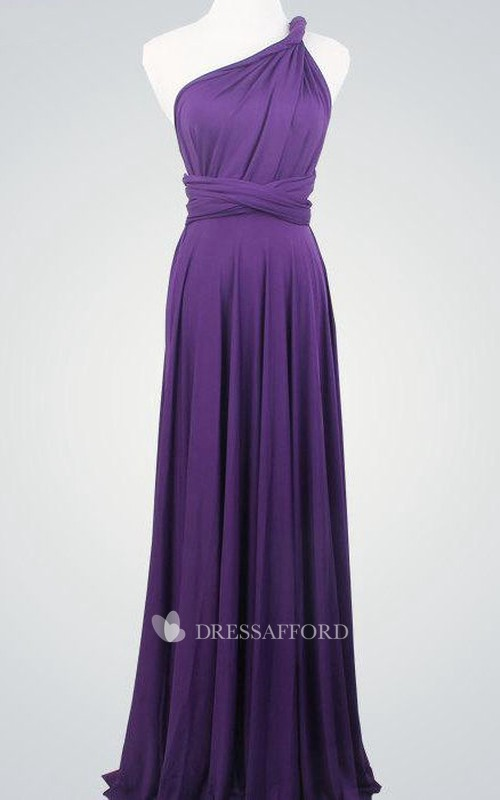 One-shoulder Jersey long Dress With Pleats And bow