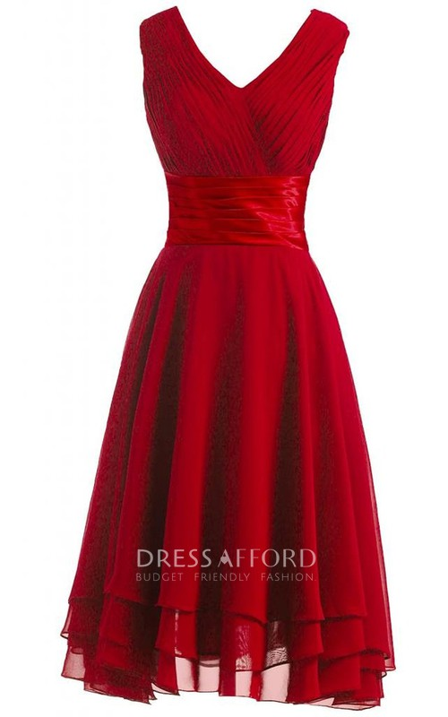 Layered Satin Belt Pleated V-Neck Dress