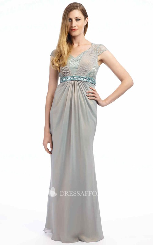 V-Neckline Lace Ruched Jeweled Cap-Sleeve Formal Gown