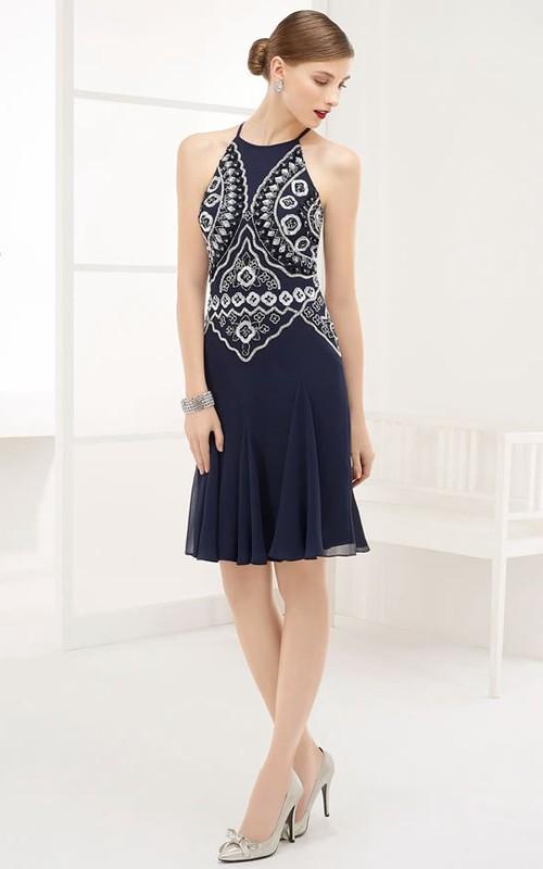 Chinoiserie Embroidery High Neck Sleeveless Chiffon Short Prom Dress With Keyhole