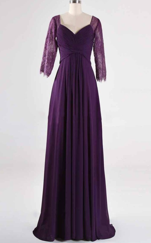 Lace Half Sleeve Criss-cross ruched Chiffon Dress With Pleats And Illusion