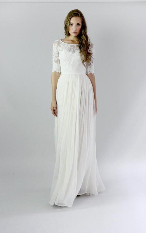 Chiffon Lace Pleats Button-Back Jewel Gown
