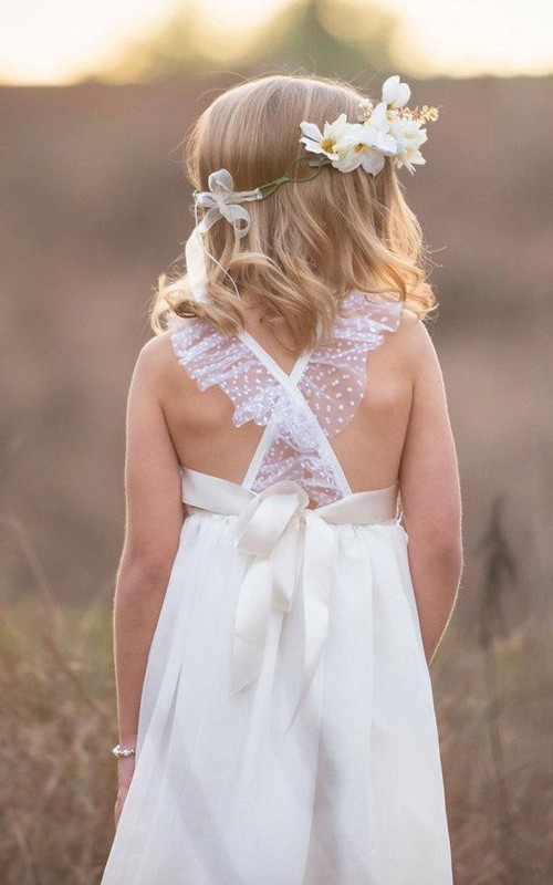 Lace Bow Back Strap Criss-Crossed Flower Girl Dress