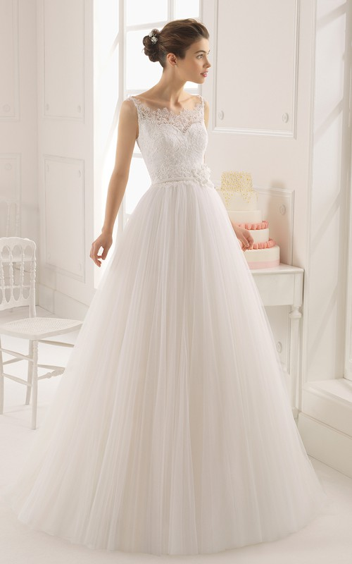 Long Floral Lace-Top Sleeveless Tulle Gown