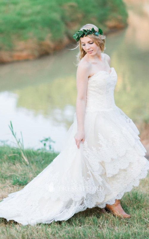 country style Sweetheart Lace Tiered High-low Wedding Dress With Corset Back