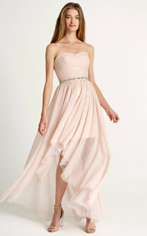 Sweetheart Tulle Criss cross High-low Dress With Embellished Waist