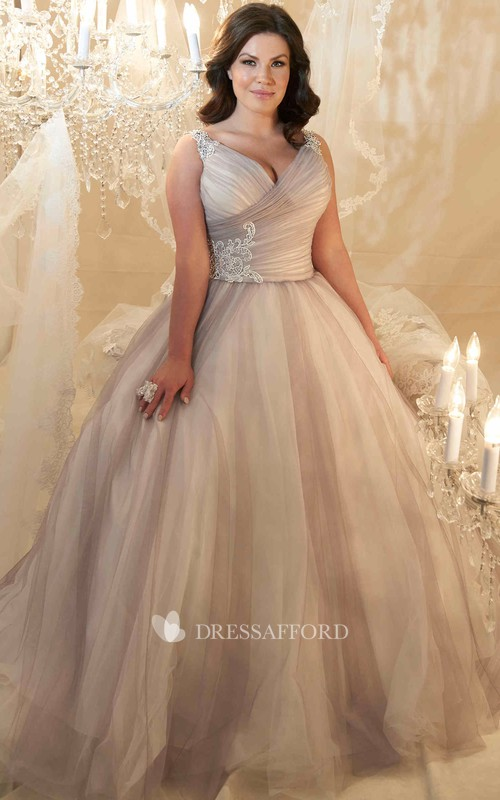Tulle Criss cross Ruched plus size Ball Gown With Beading