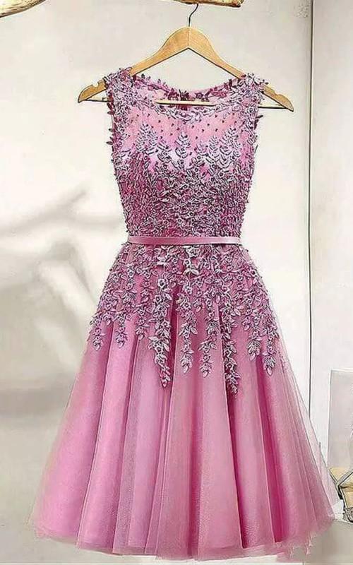 Sleeveless A-line Knee-length Bateau Appliques Pleats Sash Ribbon Lace Tulle Homecoming Dress