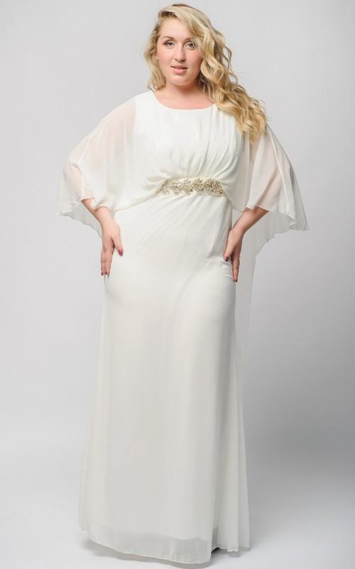 Half-Sleeve Zipper Floor-Length High-Waist Crystal Gown