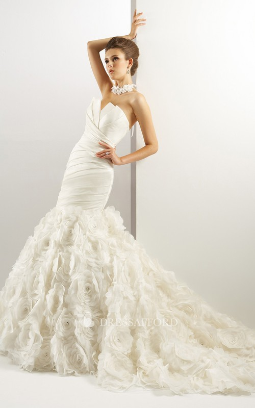 floral mermaid Ruffled Wedding Dress With Ruching And Court Train