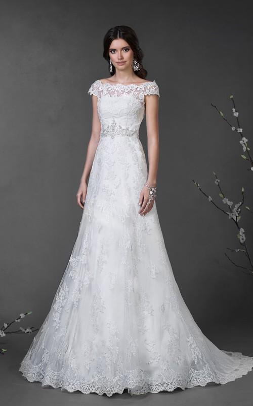 Cap-Sleeve Appliqued Waist Jewellery Floor-Length A-Line Lace Dress