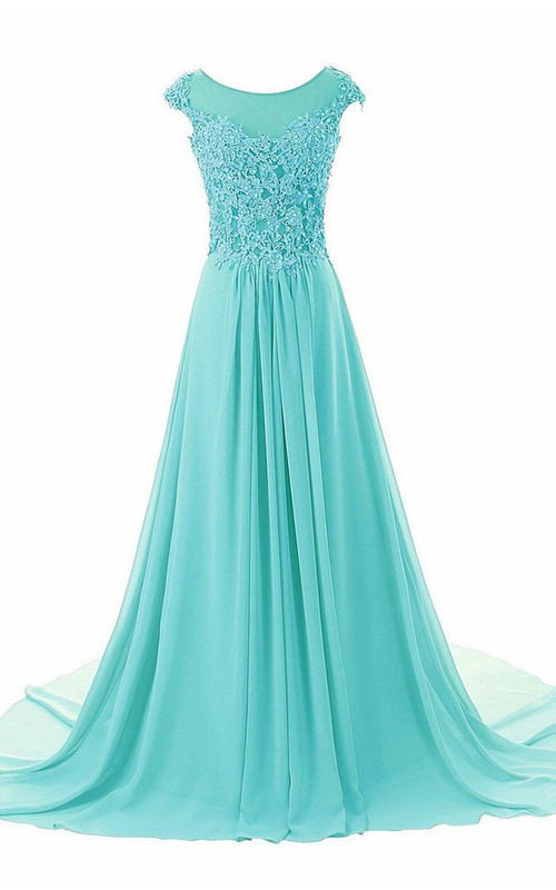 Jeweled Lace Appliqued Floor-Length Dramatic Dress