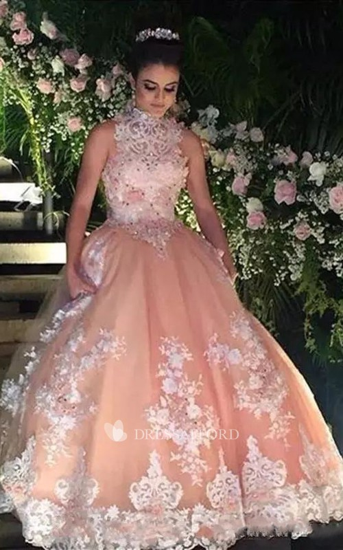Ball Gown Sleeveless Floor-length High Neck Lace Tulle Prom Dress with Zipper Back
