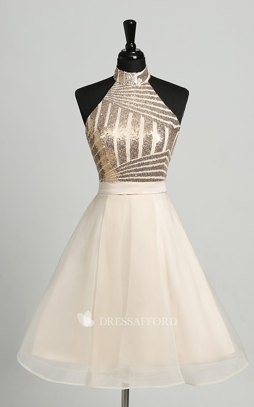 A-Line Halter Tulle Sleeveless Backless Adorable Short Mini Dress with Sequins