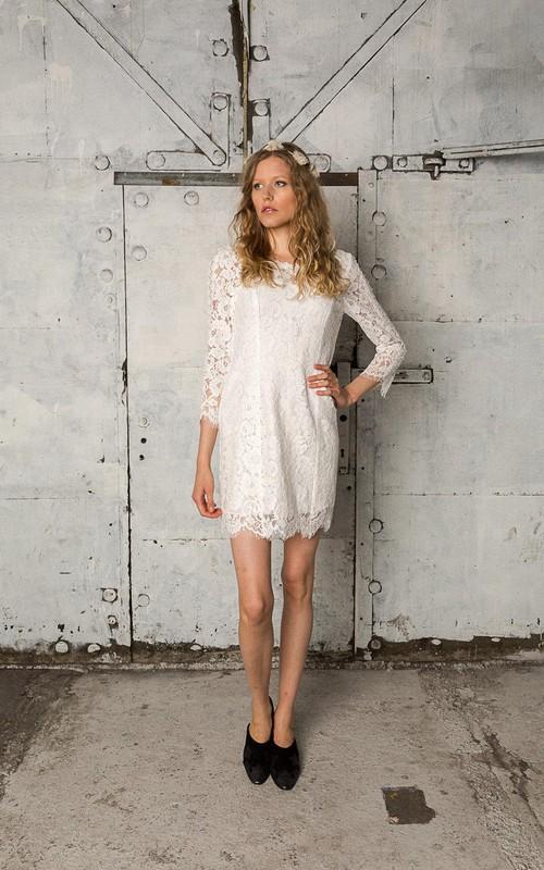 Boho Lace Long-Sleeve Bateau-Neckline Wedding Short Dress