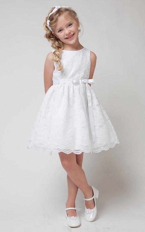 Lace Layered Midi-Length-Slit Flower Girl Dress