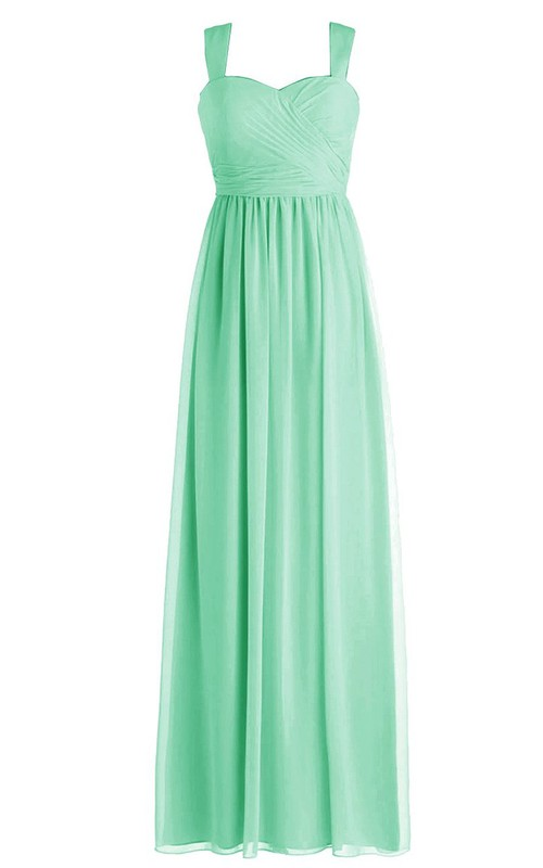 Sweetheart Chiffon Strapped Simple A-Line Side-Draping Gown