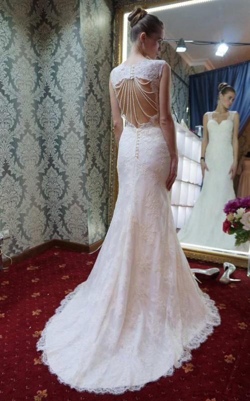 Sleeveless Lace A-Line Wedding Dress With Beaded Keyhole Back