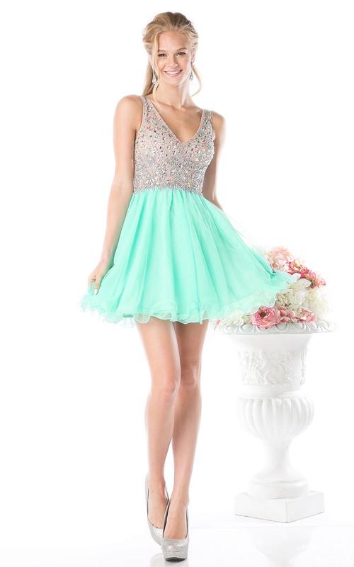 A-Line Jeweled Ruffled Short Mini Sleeveless V-Neck Deep-V-Back Dress