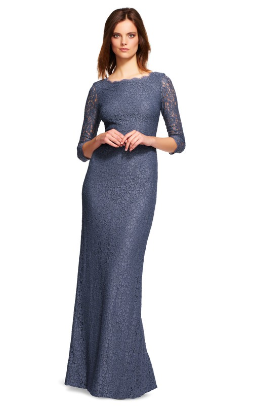 Bateau Lace 3-4-sleeve Dress With Split And Low-V Back