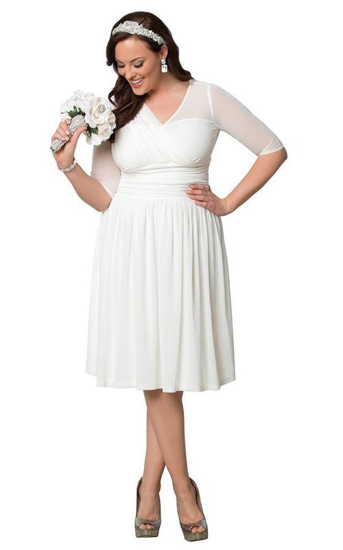 Half-Sleeves Ruffles Midi-Length Plus-Size Gown