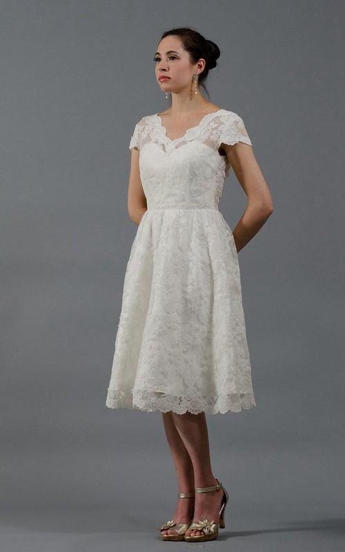 Cap-sleeve short Lace Appliqued Wedding Dress With deep-v back