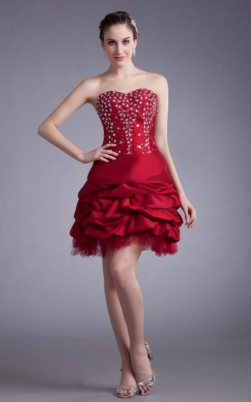 Short Crystal Ruffles Sweetheart Unique Dress