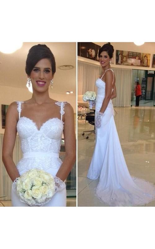 Spaghetti Chiffon Lace  Sleeveless Wedding Gown