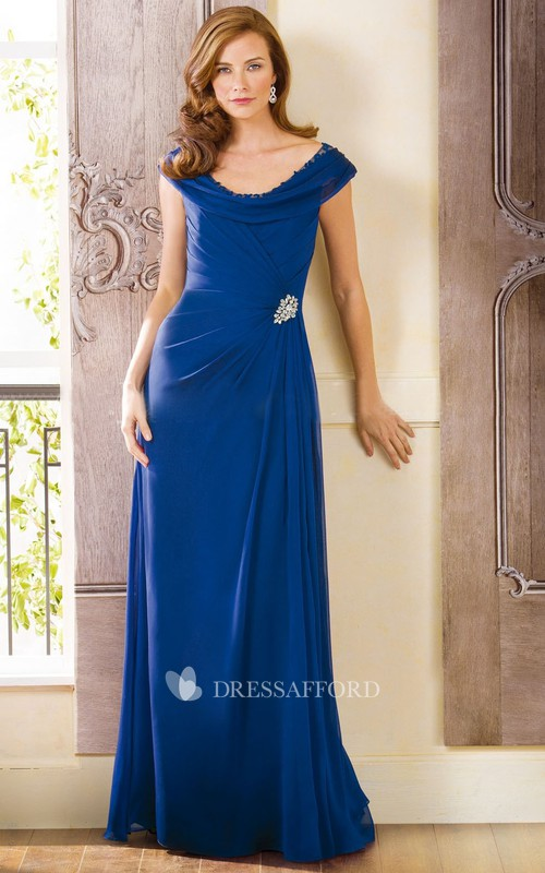 Beaded Illusion Back Scoop-Neckline Cap-Sleeved Mother Of The Bride