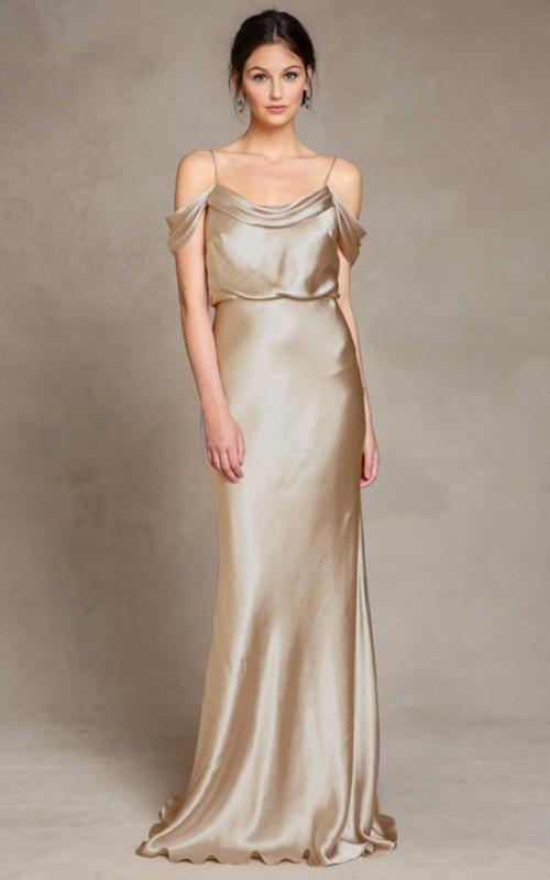 sheer Spaghetti Sheath Floor-length Dress With Low-V Back