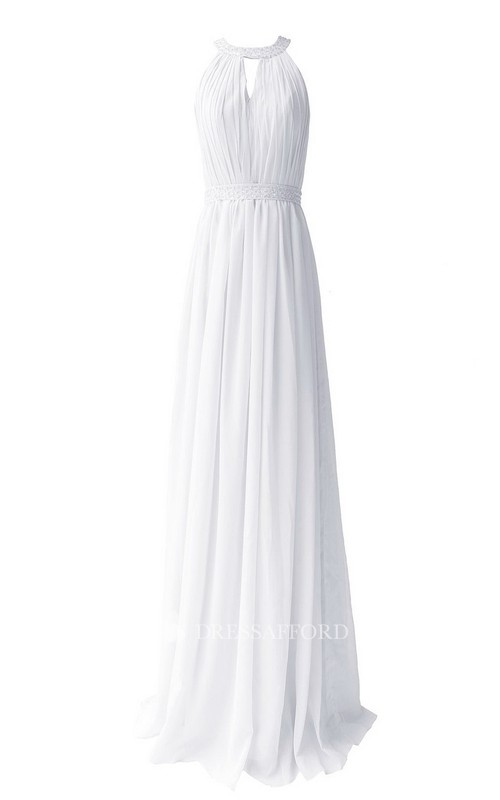 Long Chiffon High-Neckline Sleeveless Pleated Gown