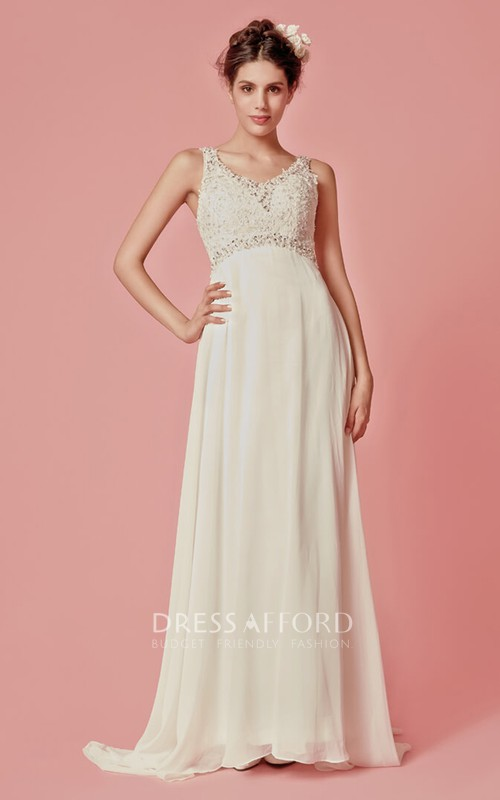 Chiffon Lace Top V-Neckline Sleeveless Long Dress