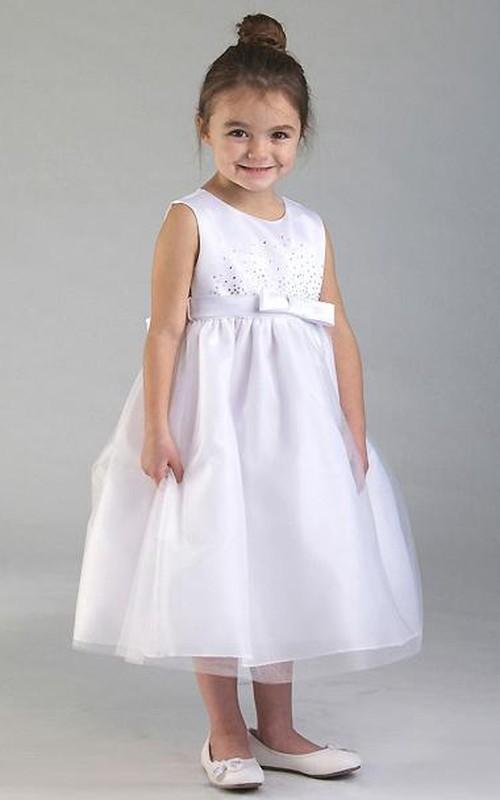 Tulle Appliqued Layered Tea-Length Flower Girl Dress