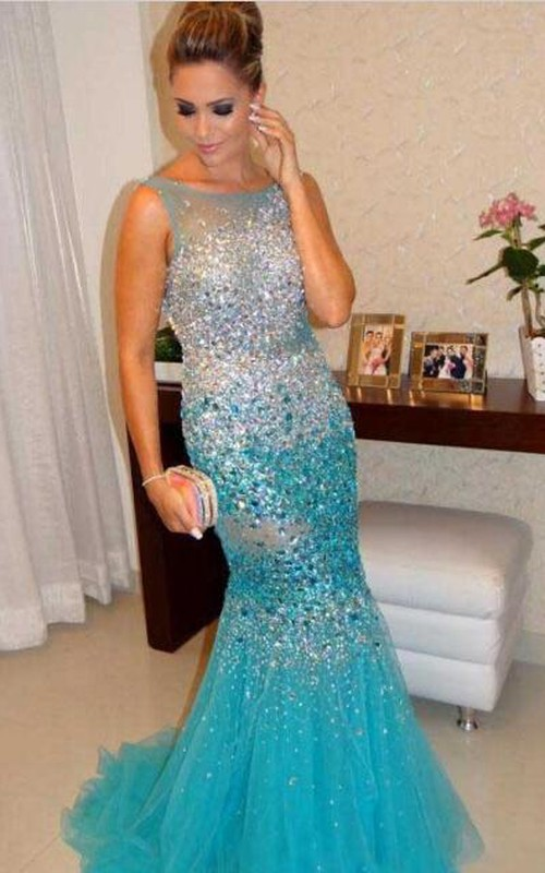 Crystals Fishtail Tulle Party Sleeveless Glamorous Gown