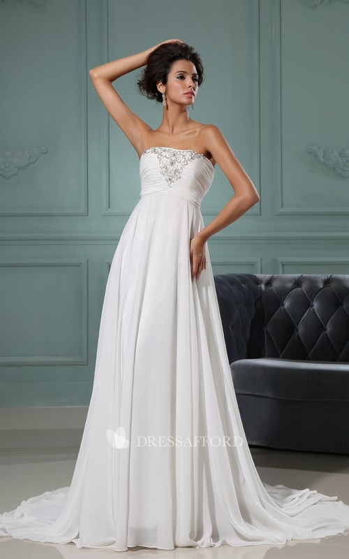 Lace Ruched Bodice Strapless A-Line Gown