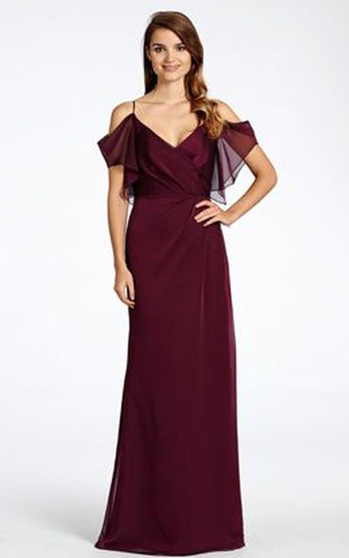 Spaghetti V-neck Floor-length Chiffon Dress With Backless design