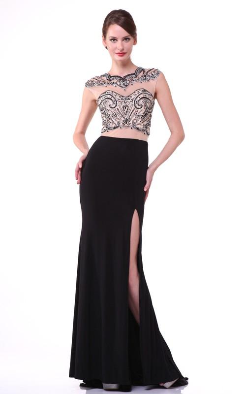 Column Split Front Beaded Full-Length Jewel-Neck Jersey Cap-Sleeve Illusion Dress