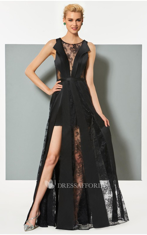 Sexy Satin and Tulle Sheath Bateau Sleeveless Long Dress with Applique