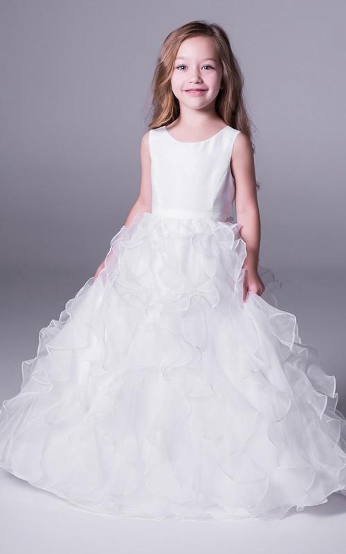 Sleeveless Satin Ball-Gown Princess Organza Long Flower Girl Dress