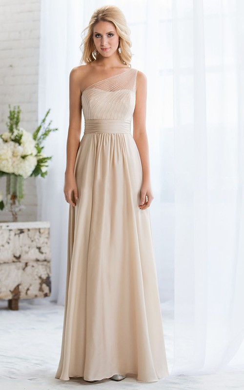 One-shoulder Sleeveless Long Dress With Beading And Zipper
