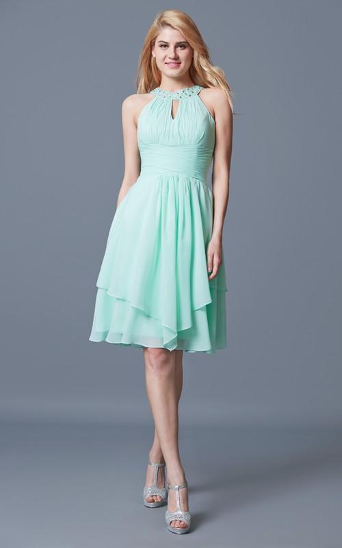 High-Waist Ruffled Short Halter Chiffon Bridesmaid Dress