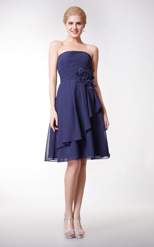 Draped Floral Strapless Cute Chiffon Dress