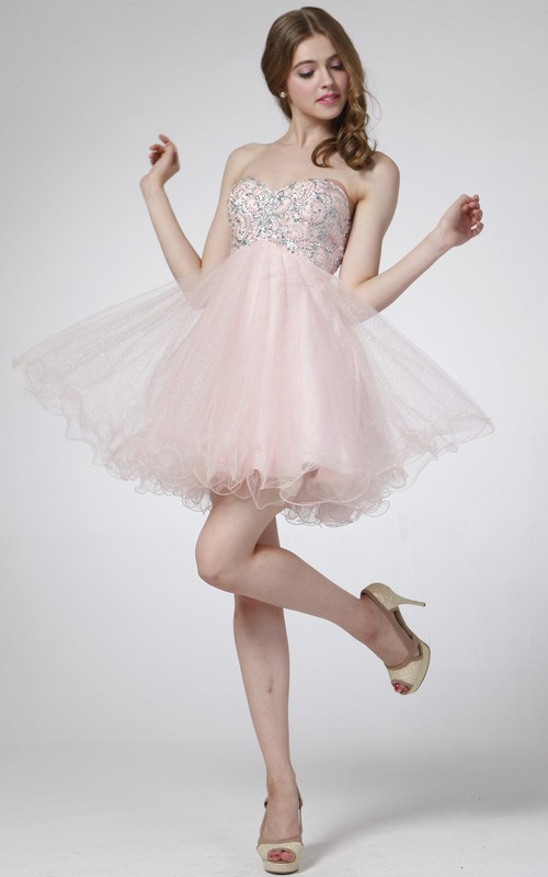 A-Line Tulle Jeweled Mini Sweetheart Sleeveless Strapless High-Waist Dress