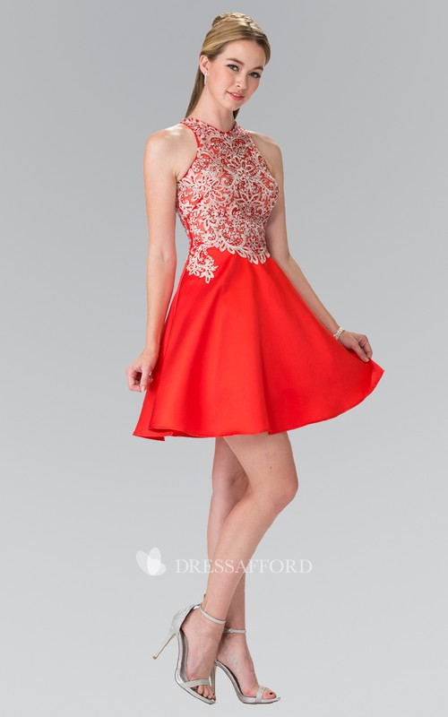 A-Line Beaded Appliqued Short Mini Sleeveless Jewel-Neck Satin Dress