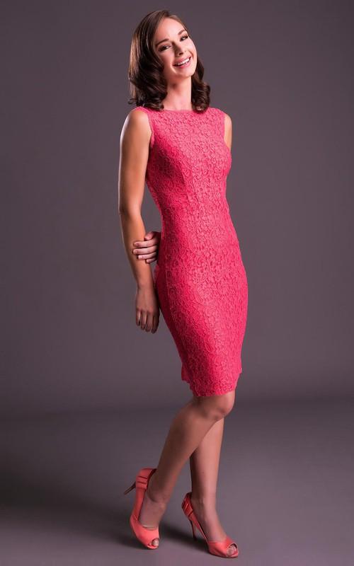 Bateau Sleeveless Lace Pencil Knee-length Dress With Low-V Back