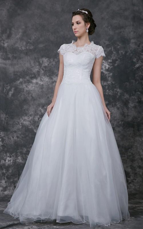 Lace Bridal Scoop-Neck Romantic Princess Applique Ball Gown