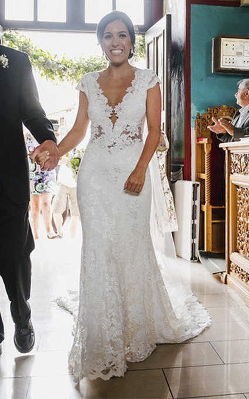 Sexy Mermaid Lace Bridal Gown With Cap Sleeves And Illusion Tulle Back With Court Train