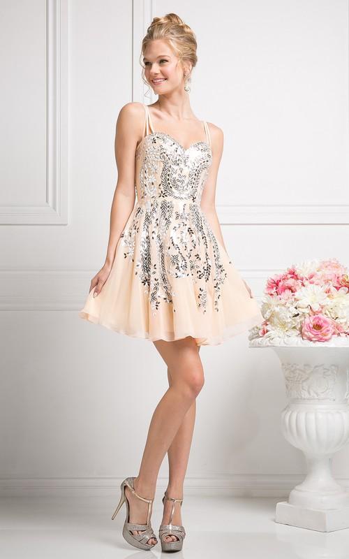 A-Line Mini Spaghetti Sleeveless Chiffon Dress With Sequins
