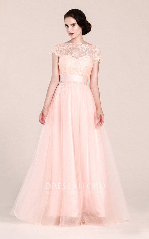 Long Illusion Neck A-Line Short-Sleeved Gown