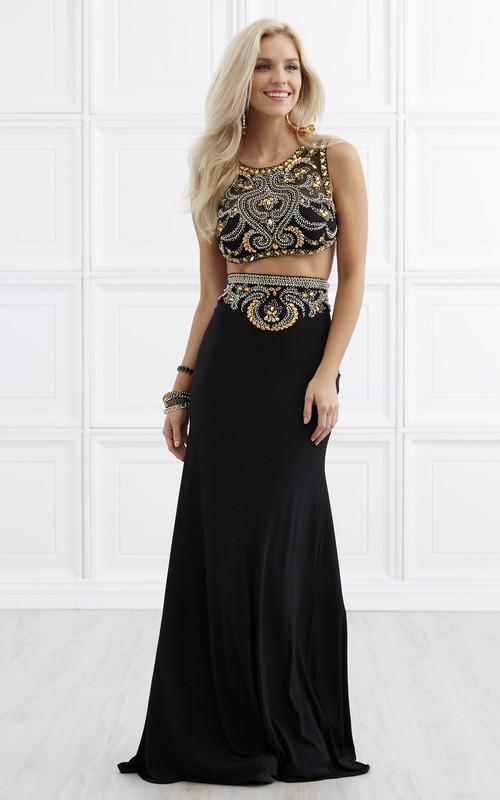 2-Piece Jeweled Column Long Sleeveless Scoop-Neck Jersey Dress